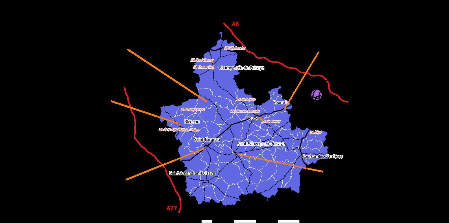 Disponibilités foncières ZAE Puisaye-Forterre